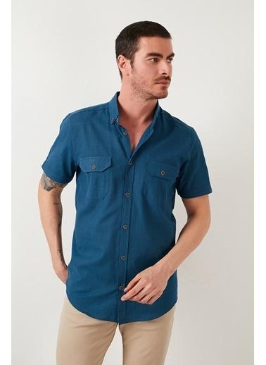 Buratti Buratti Düğmeli Yaka Erkek Gömlek CF21S111153 İndigo